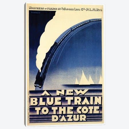 A New Blue Train To The Cote d'Azur Canvas Print #VAC1295} by Vintage Apple Collection Art Print