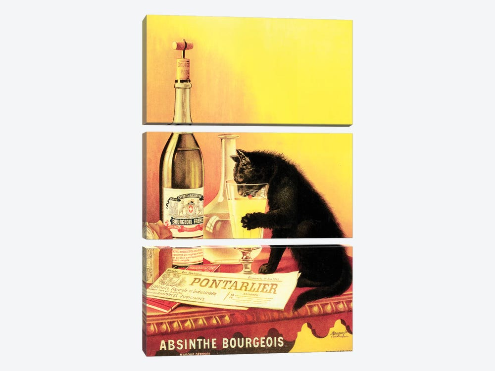 Absinthe Bourgeois by Vintage Apple Collection 3-piece Canvas Print