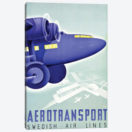 Aerotransport, Swedish Air Lines Canvas Print #VAC1305} by Vintage Apple Collection Art Print