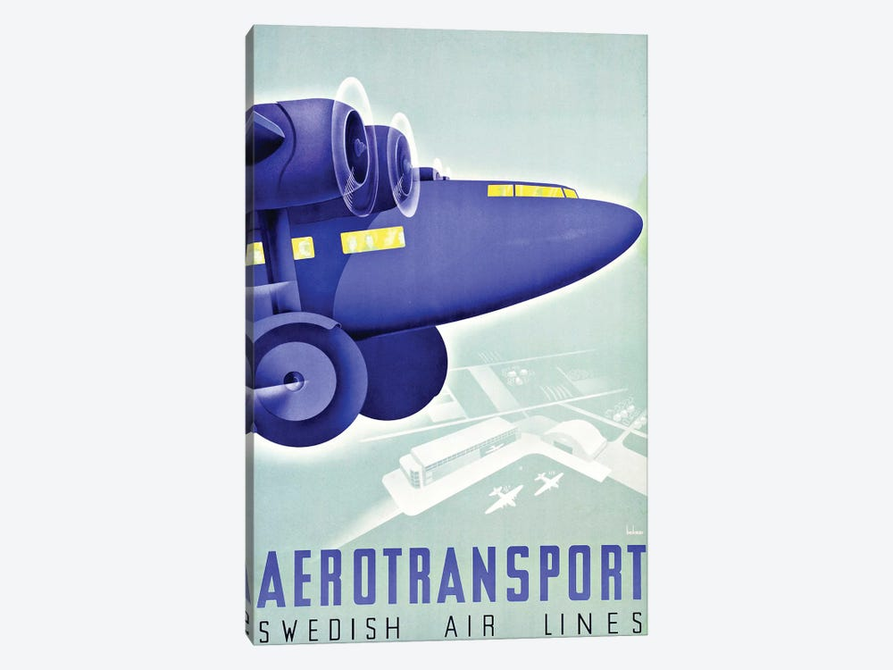 Aerotransport, Swedish Air Lines by Vintage Apple Collection 1-piece Canvas Art Print