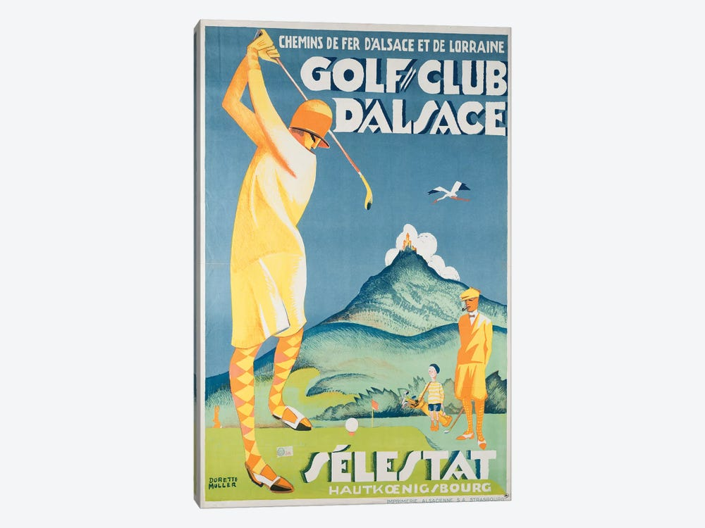 Alsace Golf by Vintage Apple Collection 1-piece Canvas Artwork