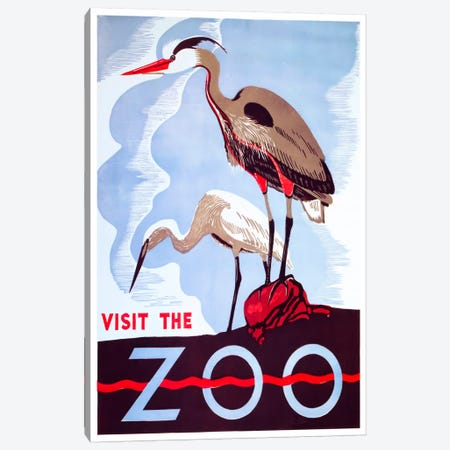 visit the zoo Canvas Print #VAC132} by Vintage Apple Collection Canvas Art Print