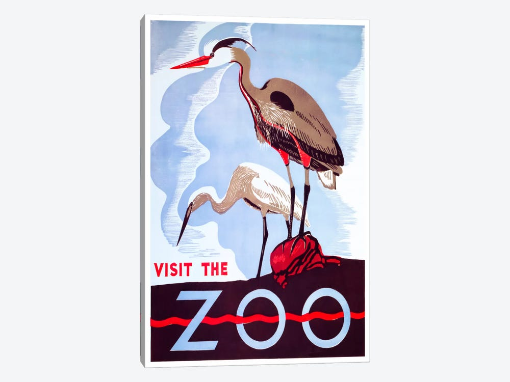 visit the zoo by Vintage Apple Collection 1-piece Canvas Art