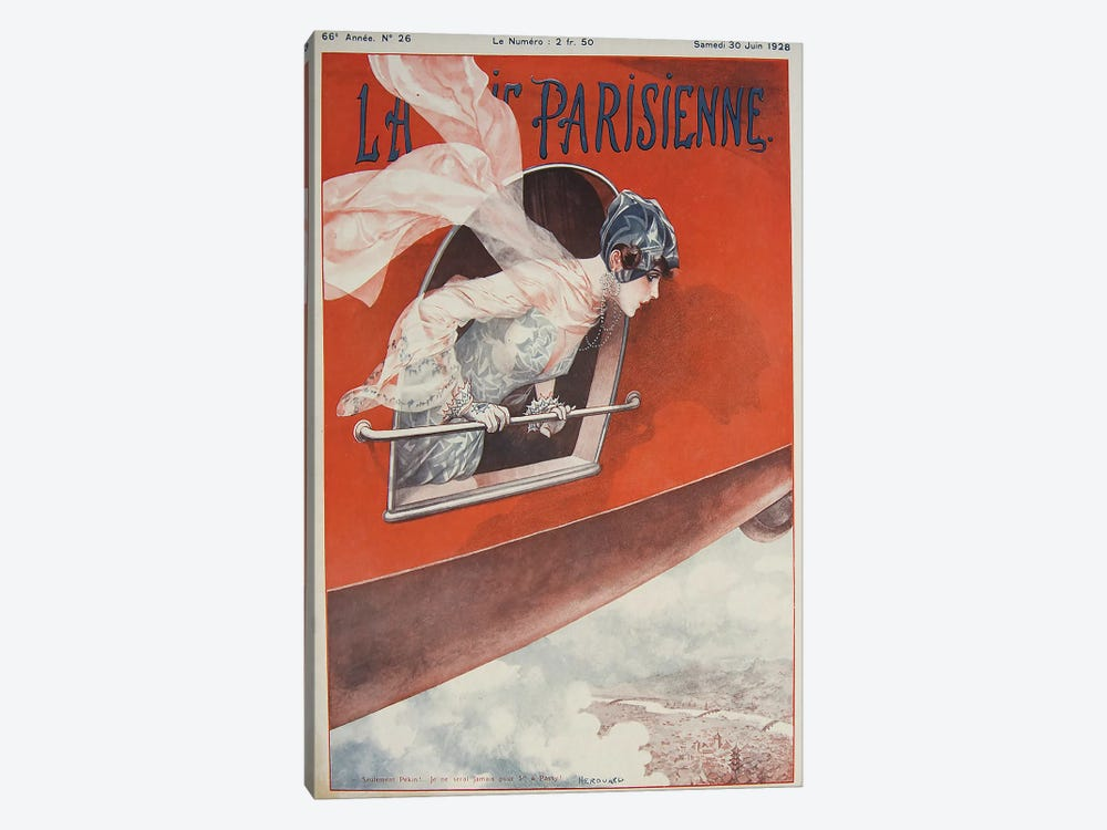 Art Deco Airplane La Vie Parisienne, 1928 by Vintage Apple Collection 1-piece Canvas Art Print