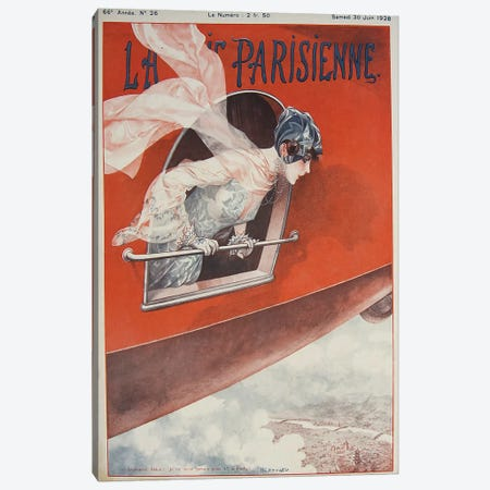 Art Deco Airplane La Vie Parisienne, 1928 Canvas Print #VAC1336} by Vintage Apple Collection Canvas Artwork
