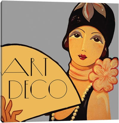 Art Deco Flapper With Fan Canvas Art Print