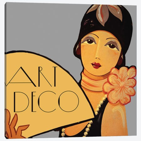Art Deco Flapper With Fan Canvas Print #VAC1339} by Vintage Apple Collection Canvas Art Print