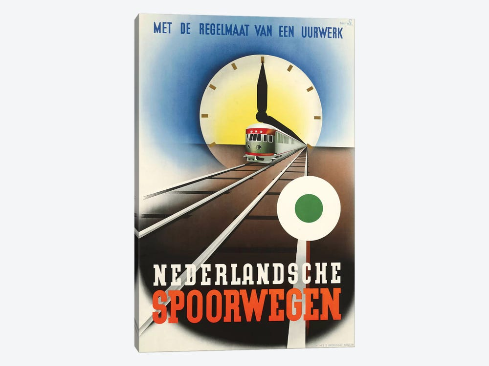Art Deco Railroad Netherlands by Vintage Apple Collection 1-piece Art Print