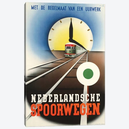 Art Deco Railroad Netherlands Canvas Print #VAC1343} by Vintage Apple Collection Canvas Artwork