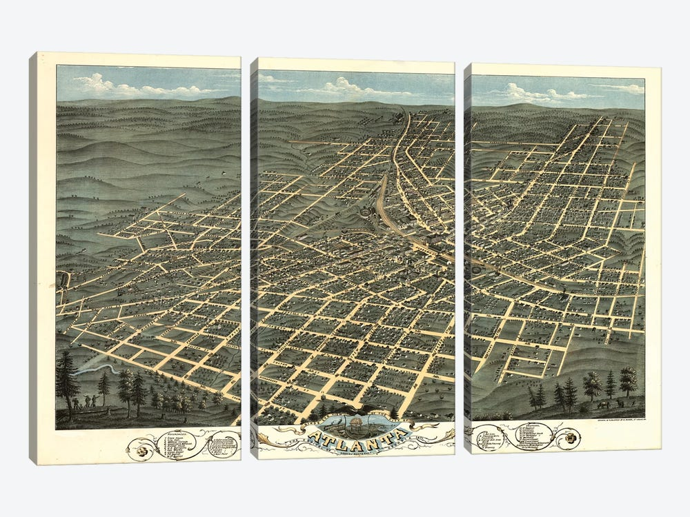 Atlanta Map, 1871 by Vintage Apple Collection 3-piece Canvas Print