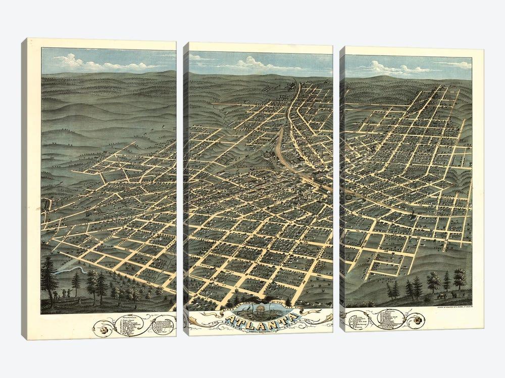 Atlanta Map, 1871 by Vintage Apple Collection 3-piece Canvas Print
