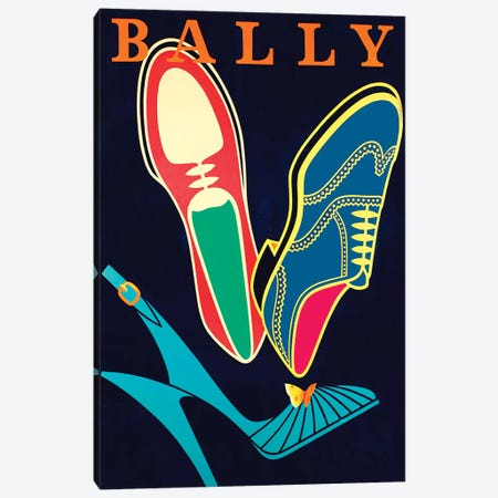 Bally Shoes Canvas Print #VAC1366} by Vintage Apple Collection Art Print