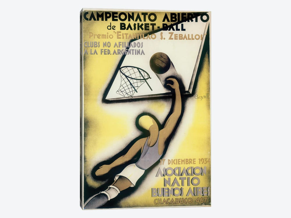 Basketball Open Championship, Buenos Aires, 1934 by Vintage Apple Collection 1-piece Canvas Artwork