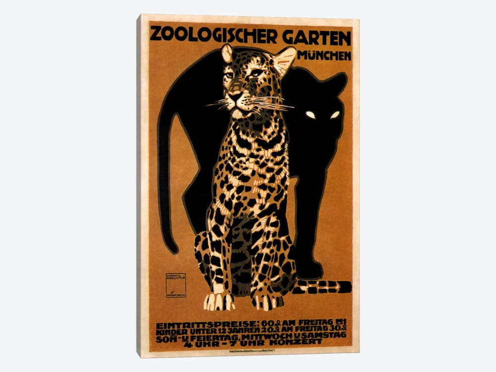 zoo big cats by Vintage Apple Collection 1-piece Canvas Art