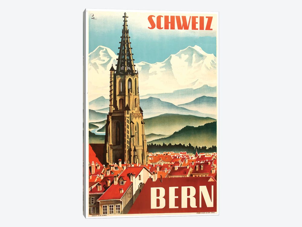 Bern by Vintage Apple Collection 1-piece Canvas Print