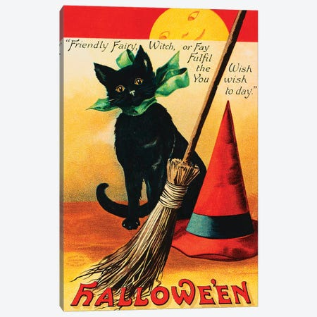 Black Cat Canvas Print #VAC1405} by Vintage Apple Collection Canvas Artwork