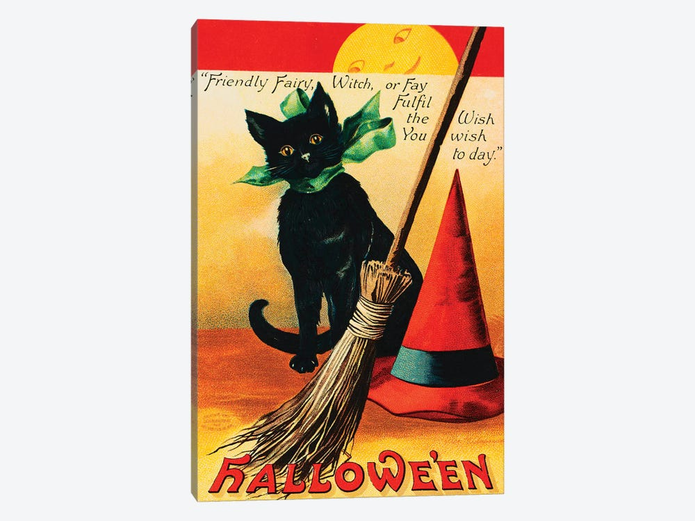 Black Cat by Vintage Apple Collection 1-piece Canvas Artwork