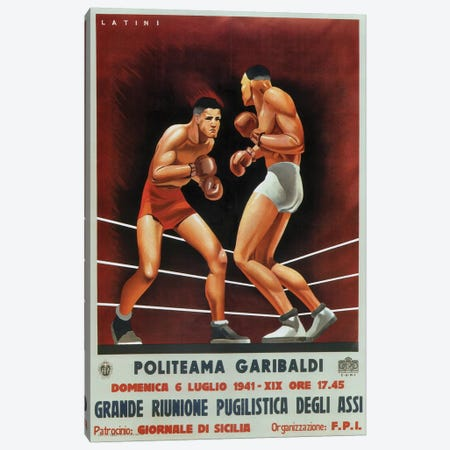 Boxing, Italian 1941 Canvas Print #VAC1417} by Vintage Apple Collection Canvas Print