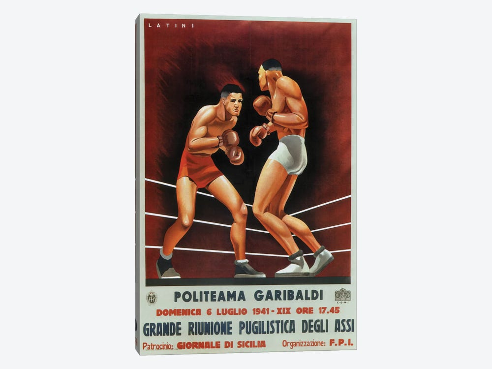 Boxing, Italian 1941 by Vintage Apple Collection 1-piece Art Print