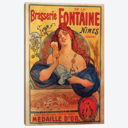 Brasserie Fontaine Nîmes, 1900  Canvas Print #VAC1419} by Vintage Apple Collection Canvas Art