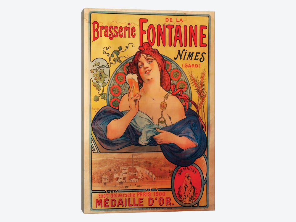 Brasserie Fontaine Nîmes, 1900  by Vintage Apple Collection 1-piece Art Print