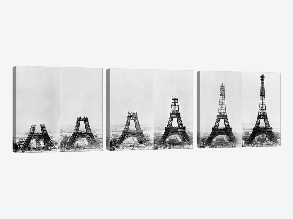 Building Eiffel by Vintage Apple Collection 3-piece Canvas Print