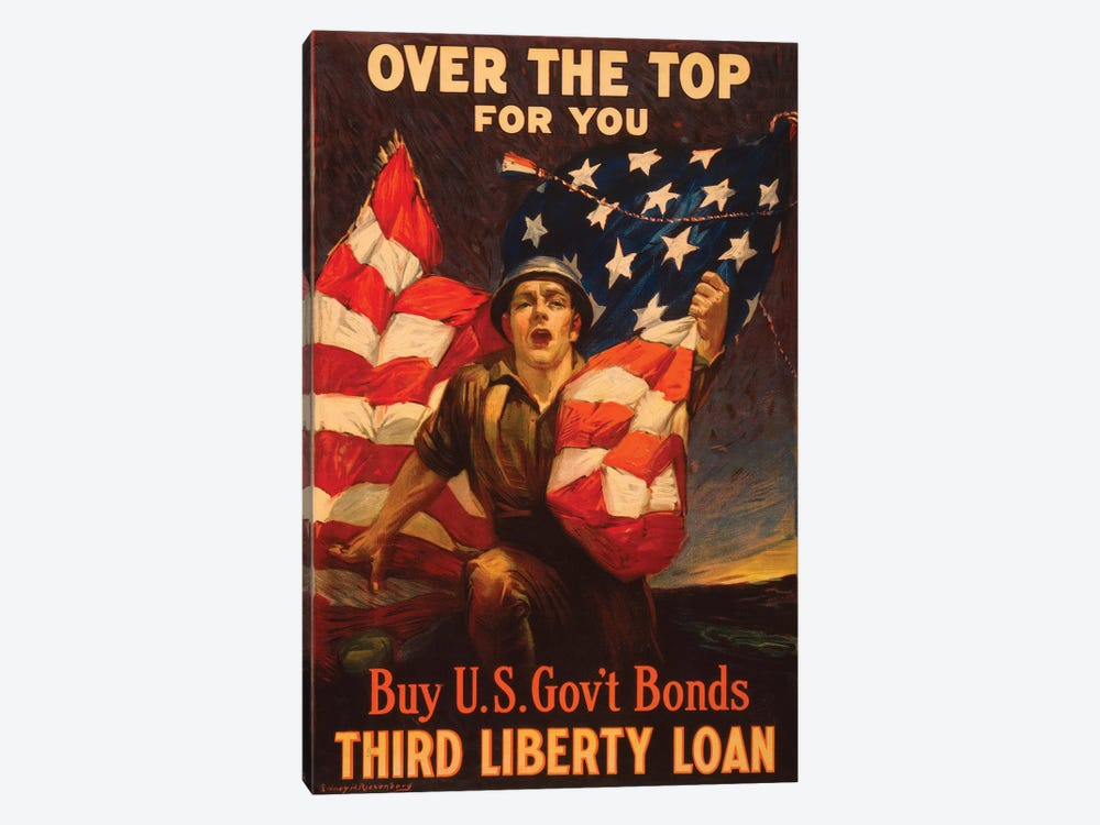 Buy U.S. Government Bonds, WWI Era Poster I by Vintage Apple Collection 1-piece Canvas Art Print