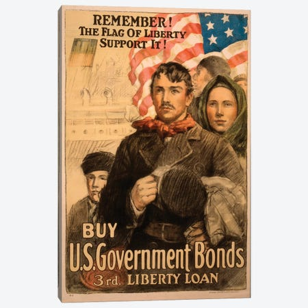 Buy U.S. Government Bonds, WWI Era Poster II Canvas Print #VAC1429} by Vintage Apple Collection Canvas Print