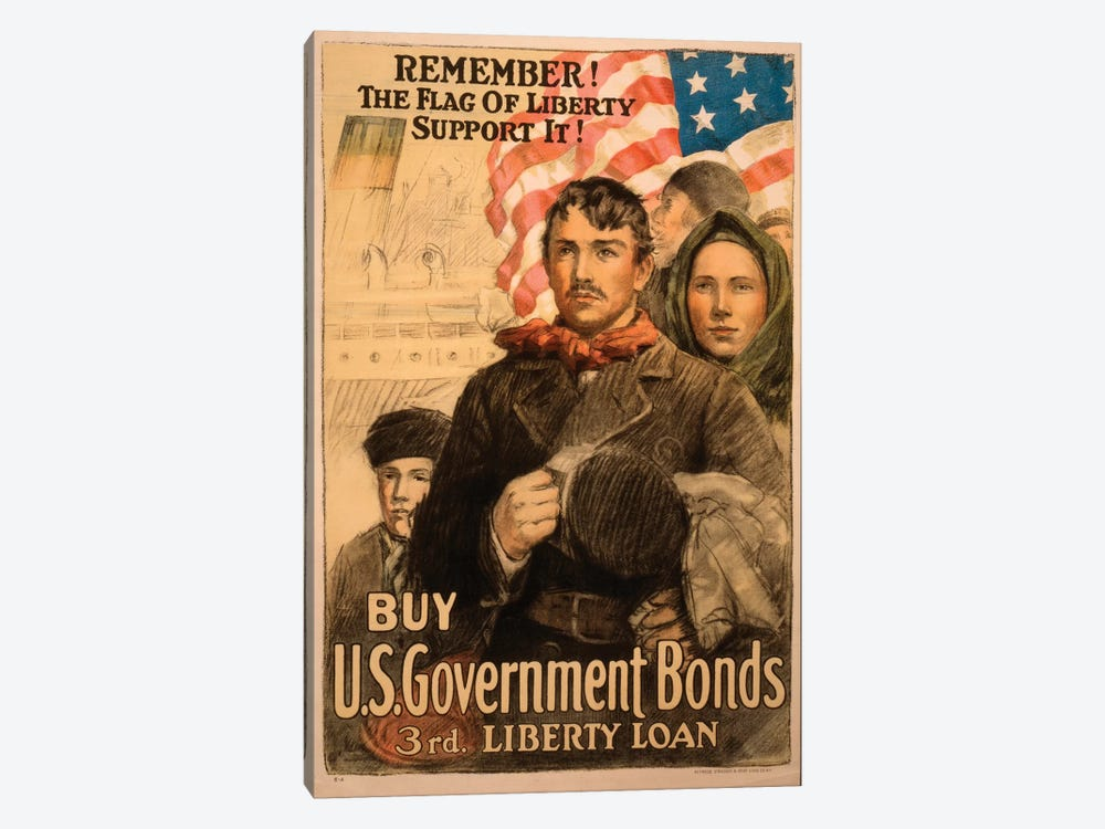 Buy U.S. Government Bonds, WWI Era Poster II by Vintage Apple Collection 1-piece Canvas Artwork