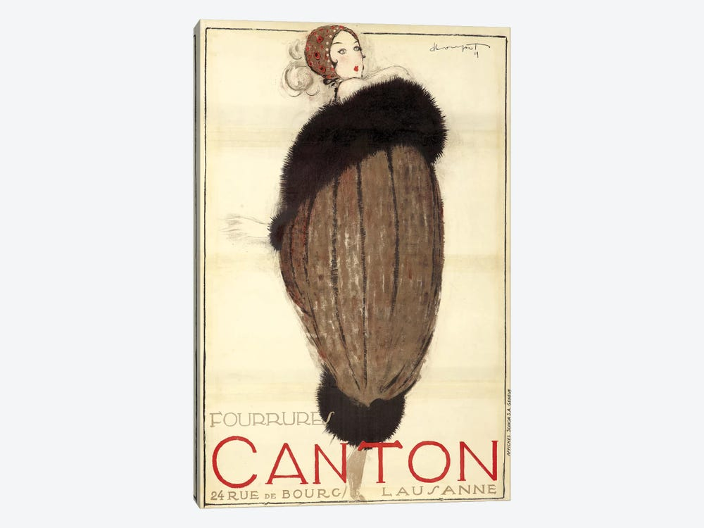 Canton Furs, 1919 by Vintage Apple Collection 1-piece Canvas Wall Art