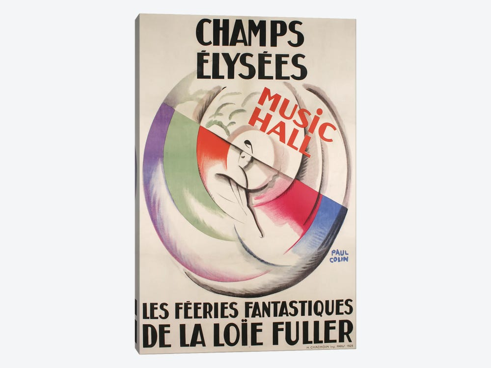 Champs-Élysées Music Hall, 1925 by Vintage Apple Collection 1-piece Canvas Art Print