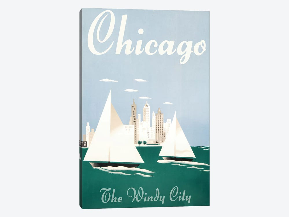 Chicago, Windy City by Vintage Apple Collection 1-piece Canvas Art