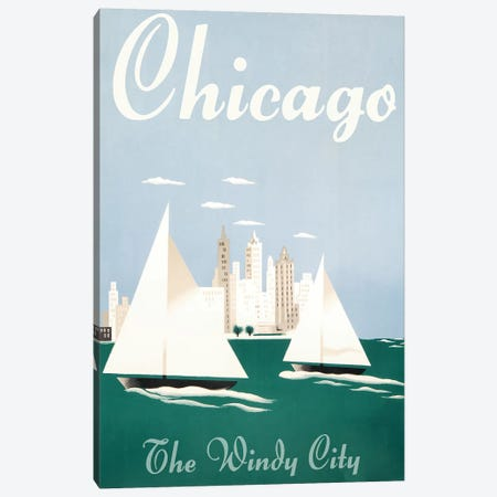 Chicago, Windy City Canvas Print #VAC1458} by Vintage Apple Collection Canvas Artwork