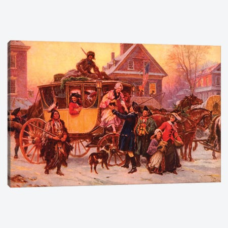 Christmas Carriage Canvas Print #VAC1465} by Vintage Apple Collection Canvas Art