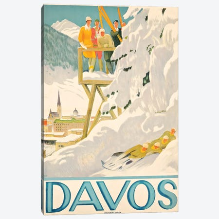 Davos Skiing Canvas Print #VAC1501} by Vintage Apple Collection Canvas Wall Art