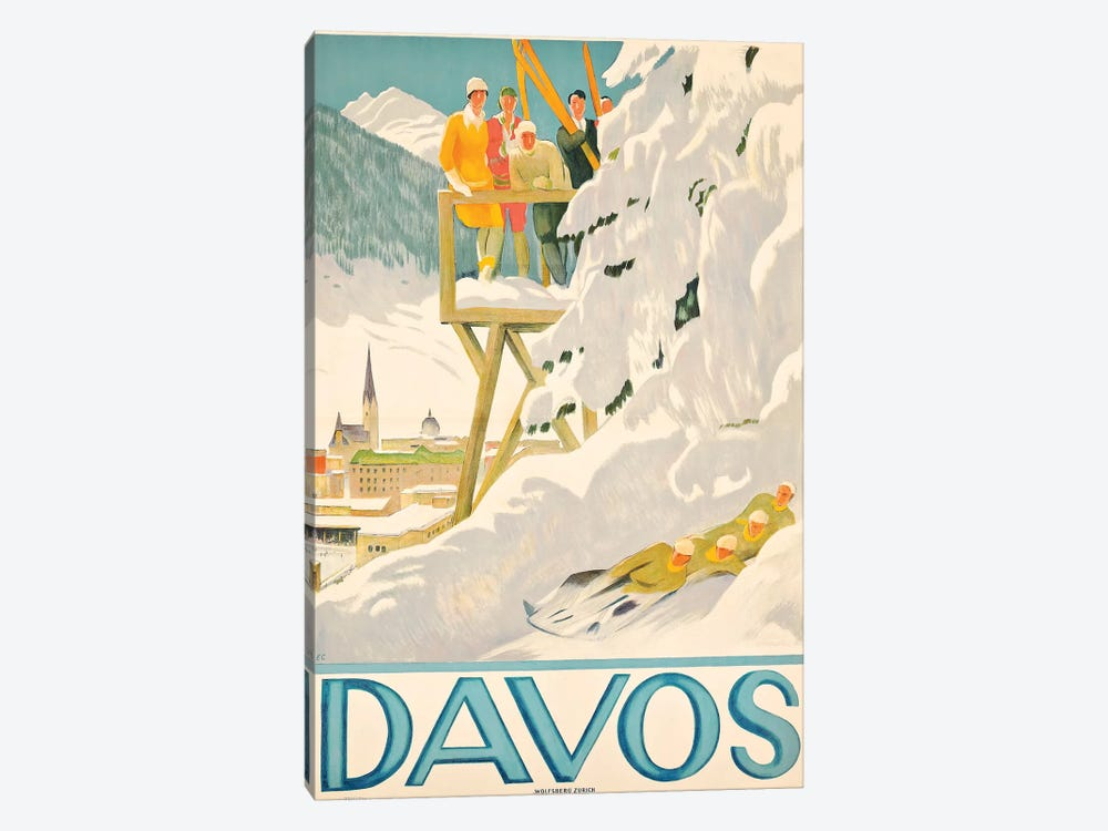 Davos Skiing by Vintage Apple Collection 1-piece Canvas Art Print