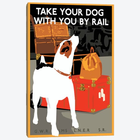 Dog By Rail Canvas Print #VAC1514} by Vintage Apple Collection Canvas Art