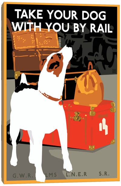 Dog By Rail Canvas Art Print