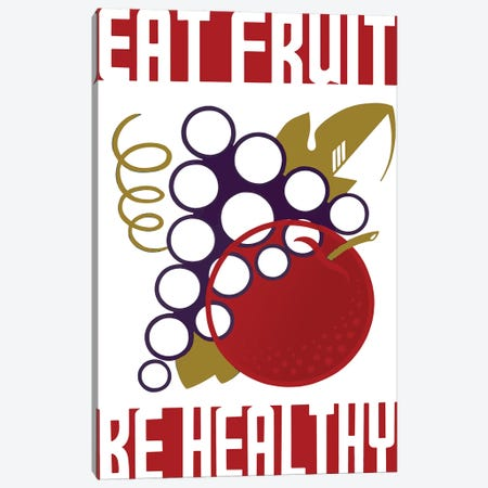 Eat Fruit Be Healthy Canvas Print #VAC1524} by Vintage Apple Collection Art Print