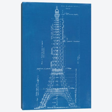 Eiffel Tower Blueprint Canvas Print #VAC1526} by Vintage Apple Collection Art Print