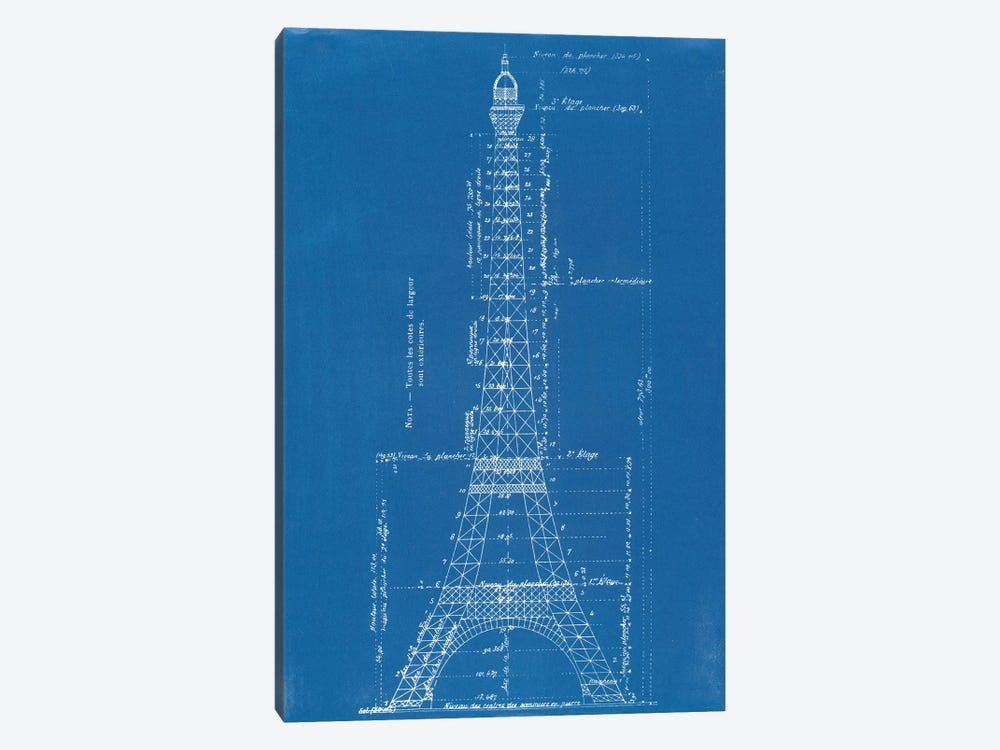 Eiffel Tower Blueprint by Vintage Apple Collection 1-piece Canvas Art
