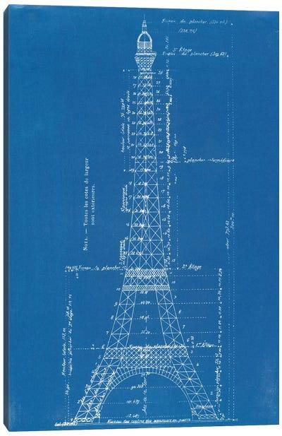 Eiffel Tower Blueprint Canvas Art Print