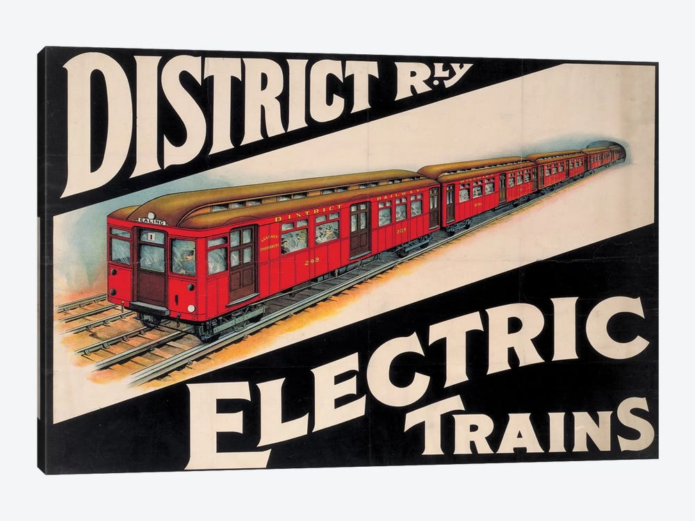 Electric Trains by Vintage Apple Collection 1-piece Canvas Artwork