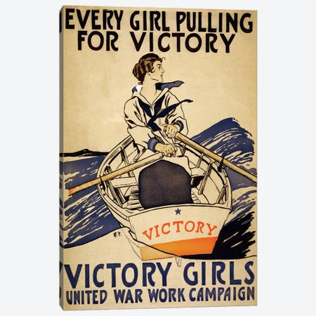 Every Girl Pulling For Victory Canvas Print #VAC1535} by Vintage Apple Collection Canvas Artwork