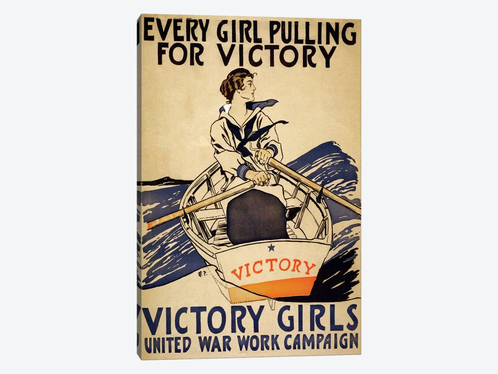 Every Girl Pulling For Victory by Vintage Apple Collection 1-piece Canvas Wall Art