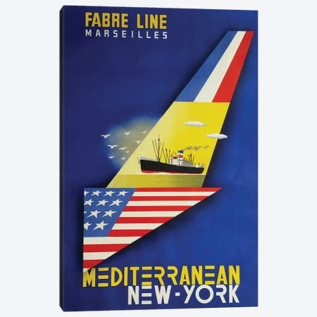 Fabre Line Marseilles, Mediterranean - New York Canvas Print #VAC1543} by Vintage Apple Collection Canvas Wall Art
