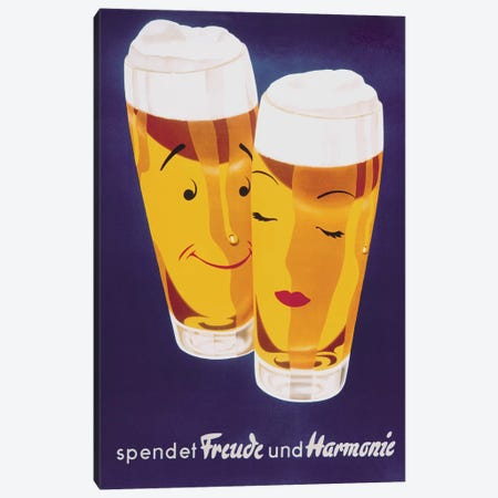 Female Male Beer 3-Piece Canvas #VAC1585} by Vintage Apple Collection Art Print