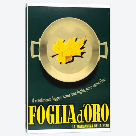 Foglia d'Oro (Gold Leaf) Canvas Print #VAC1613} by Vintage Apple Collection Canvas Wall Art