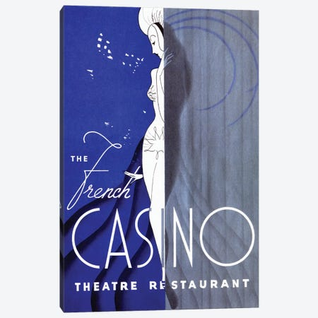 French Casino Theatre Restaurant Canvas Print #VAC1621} by Vintage Apple Collection Art Print
