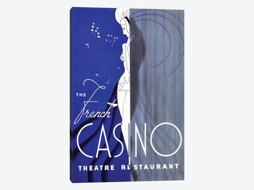 French Casino Theatre Restaurant by Vintage Apple Collection 1-piece Art Print